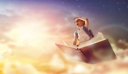 mindfulness in schools - boy in book flying